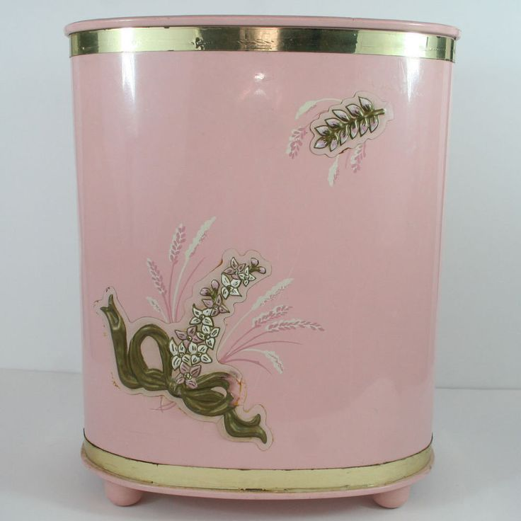 hand painted waste paper basket