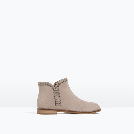 Image 1 of DETAIL LEATHER ANKLE BOOTS from Zara