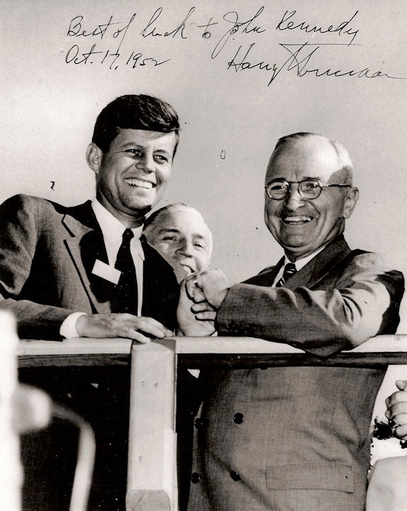 "October 17, 1952 ~ with then President Truman ~ The rising young politician gets the nod of approval from President Harry Truman, despite Truman's great dislike for Joe Kennedy Sr. Regarding Jack, Truman declares, ""There is little doubt of the great political future in store for Kennedy."""
