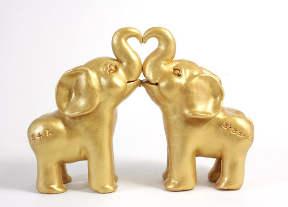 gold elephant wedding cake topper customized sculpted golden elephant wedding cake topper 14752