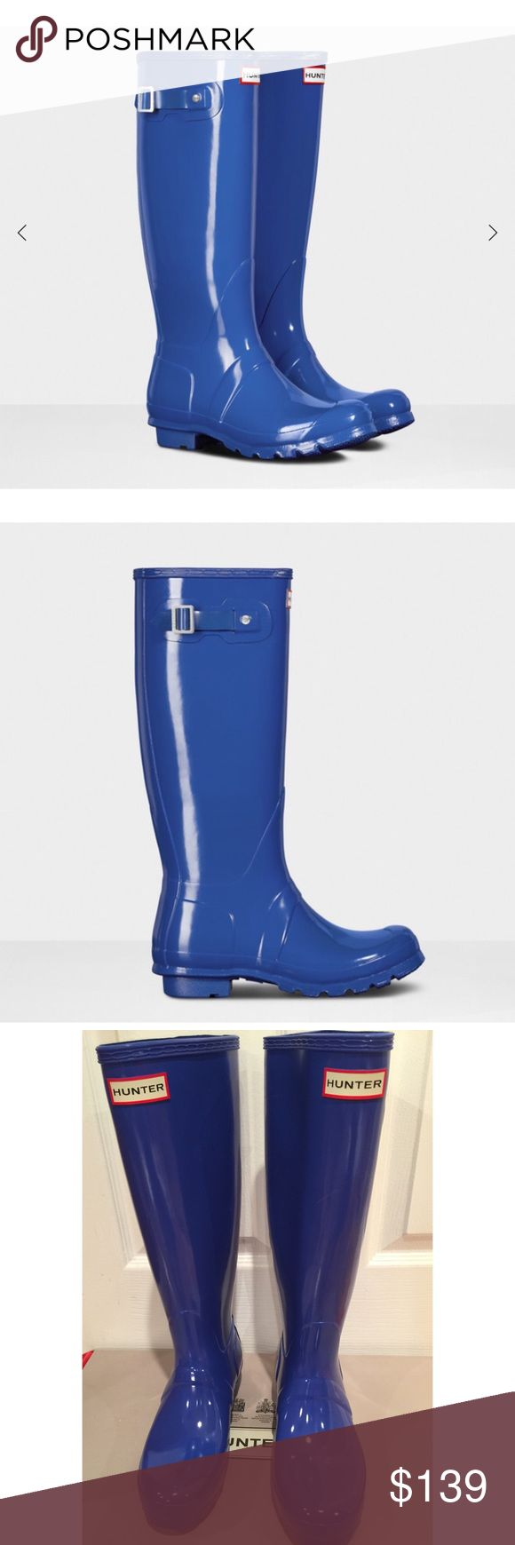HUNTER GLOSSY COBALT BLUE RAIN BOOTS💗 BRAND NEW W/ BOX GORGEOUS COBALT BLUE. I OWN SEVERAL PAIRS and in my opinion the RAIN BOOTS RUN LARGE. I am normally a SZ 7 in or 37 and sometimes a 37.5 in Designer. These are a US 6 UK 37 or EU 37 and all my other HUNTERS I've Had to Downsize to this SZ. This color is stunning!!*️⃣PRICE is FIRM and Heavy to Ship with Box. . Hunter Boots Shoes Winter & Rain Boots