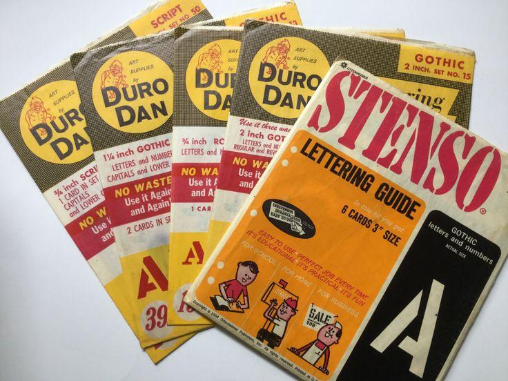 Vintage Lot Professional Stencil Lettering Guide Duro Dan / Stenso Gothic/  Roman / Script Letters