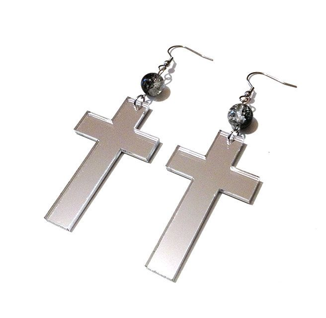 SILVER MIRROR ACRYLIC CROSS EARRINGS WITH MOON PHASE GLASS BEADS by Pornoromantic