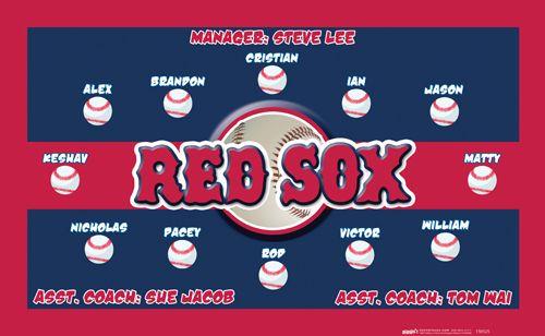 red sox digitally printed vinyl baseball and little league