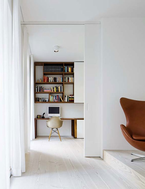 Study nook. like the shelves and the closeable doors, because let's face it no family study nook remains tidy for long!