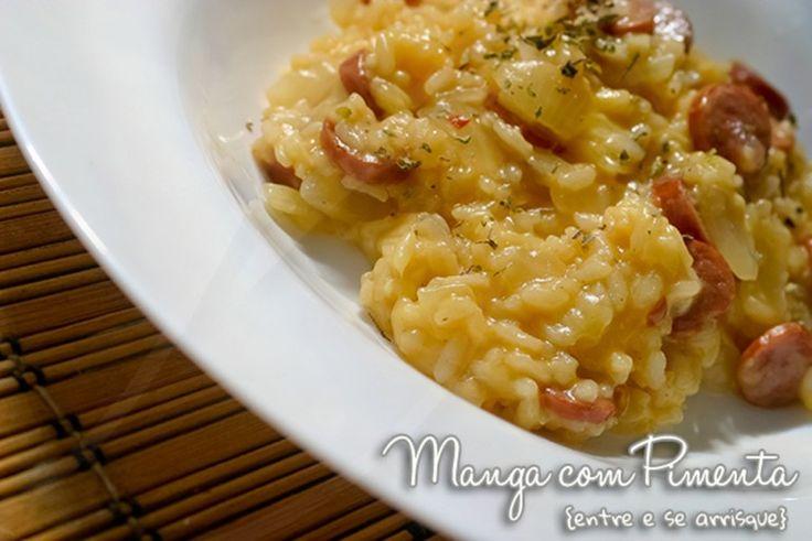 Receita de Risoto de Calabresa, clique na imagem para ver a receita e preparar essa delícia do Manga com Pimenta.