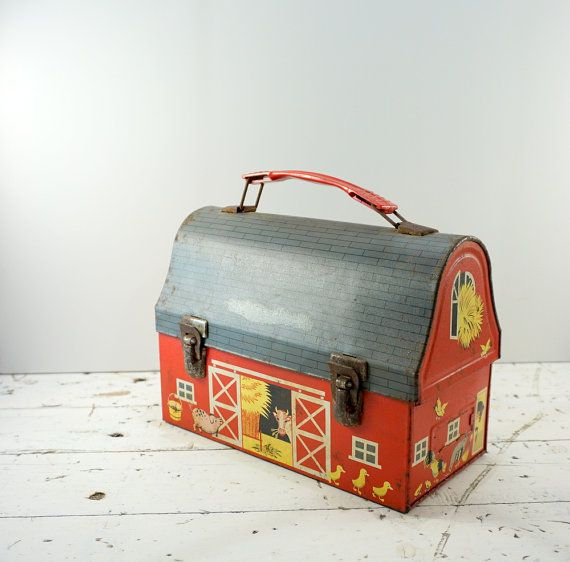 Farmhouse Decor // Metal Lunch Box // Barn Lunch by RedCatReclaim, $32.00