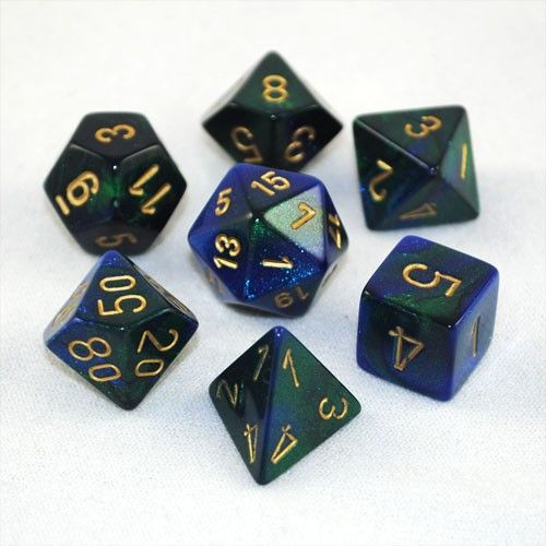 Set of 7 Chessex Gemini Blue-Green w/gold RPG Dice