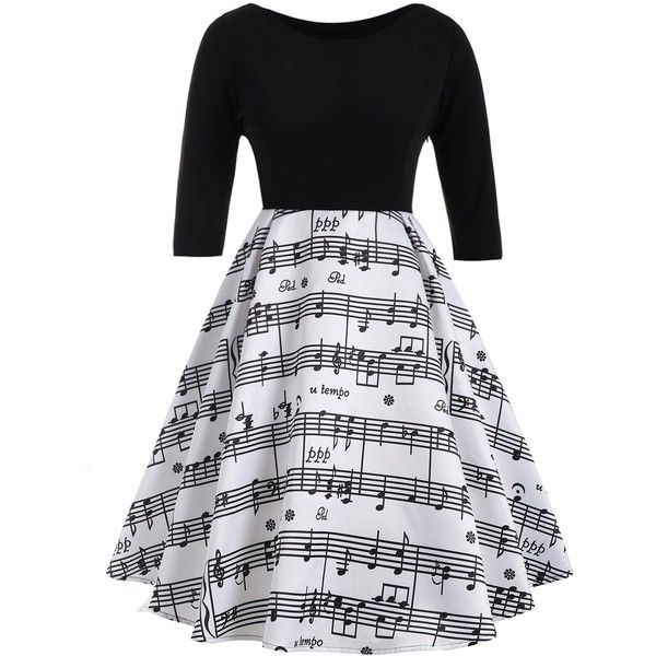 White And Black 3xl Musical Notes Printed Plus Size Vintage Dress (£12) ❤ liked on Polyvore featuring dresses, white and black dress, plus size white and black dress, plus size day dresses, womens plus dresses and black white dress
