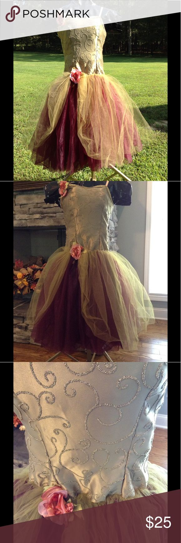 Fall colors ballet dance costume size 8A olive This beautiful dance outfit is in very good condition. The flower on the shoulder can be removed. Colors are perfect for fall...olive green and burgundy. I think this costume would be awesome if repurposed for Halloween as an autumn fairy princess or even a tutu scarecrow. Pinterest has some neat ideas! Tags says size 8, but it runs small. I would call it an adult small or youth xl. curtain call costumes Other