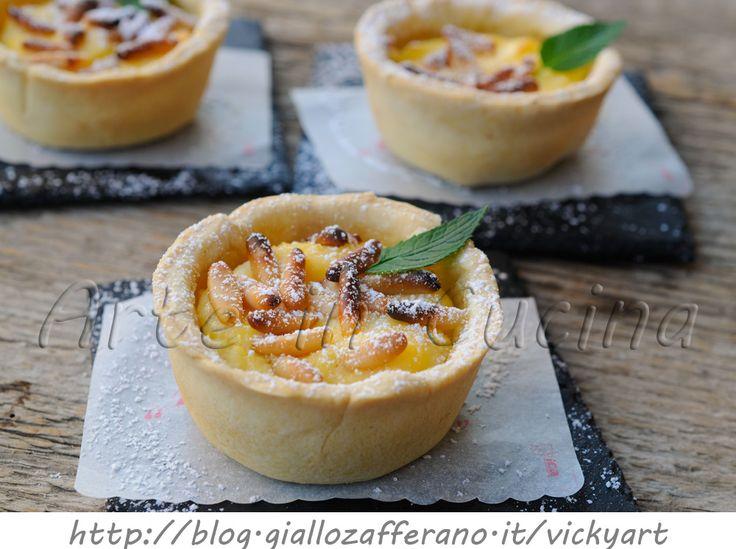 Tortine alla ricotta e pinoli ricetta dolce facile vickyart arte in cucina