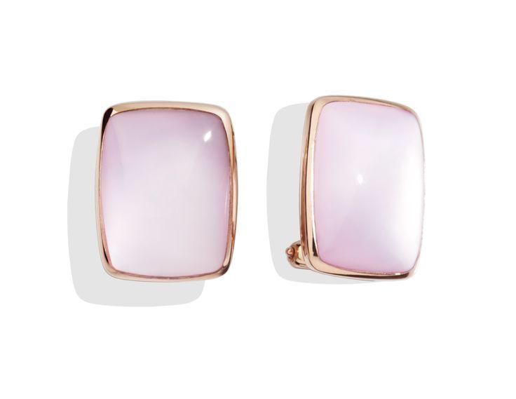 Orecchini quarzo milky e oro rosa queriot earrings pink yellow gold jewellery gioiello fashion luxury