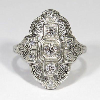 Antiguo Platino Diamante Anillo de cena de filigrana Eduardiano (RL1703O)