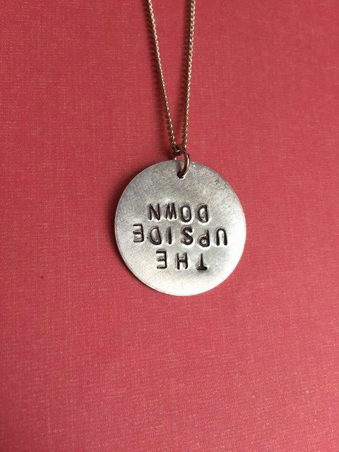 Stranger Things Upside Down Hand-Stamped Metal by SoLovelyStudio