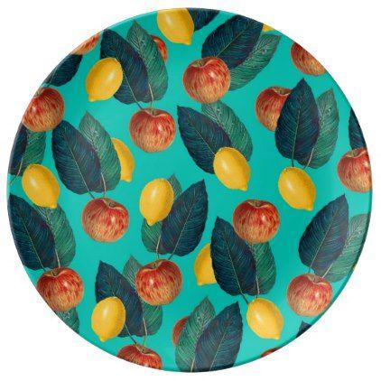 apples and lemons teal dinner plate - decor diy cyo customize home