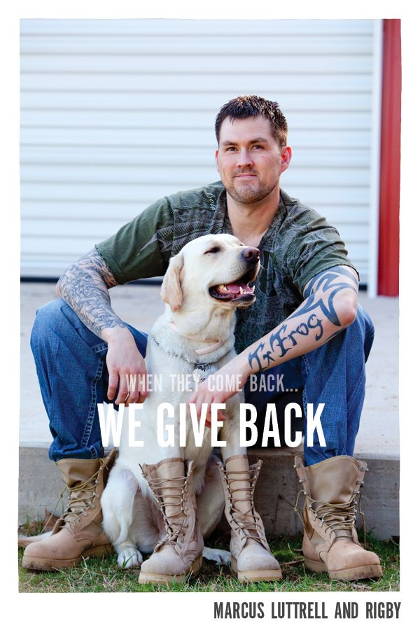 Retired Navy SEAL Marcus Luttrell  & his dog, Mr. Rigby
