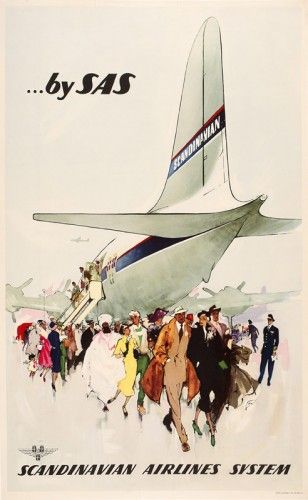 Henry Sotheran's  NIELSON, Otto. Fly SAS, Scandinavian Airlines System. Original lithograph in colours, linen backed, printed in Denmark by the Allier Press Ltd, 1946. 1000 x 635 mm.