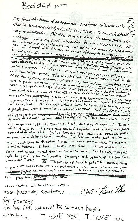 Kurt Cobain's suicide note. It's like poetry...