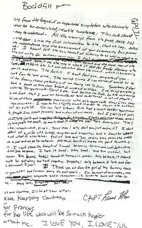 Kurt Cobain's Suicide Letter | The Sound(s) of Music | Pinterest