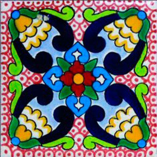 DE02 Mexican Talavera Tile Mosaic 4x4 Tiles Clay Tile Coaster Mural Ceramic Handmade 90 Tiles