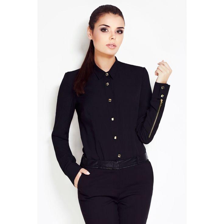 Camasa  neagra dama eleganta cu maneca lunga Awama #prettymodaro #camasadama #camasi #office
