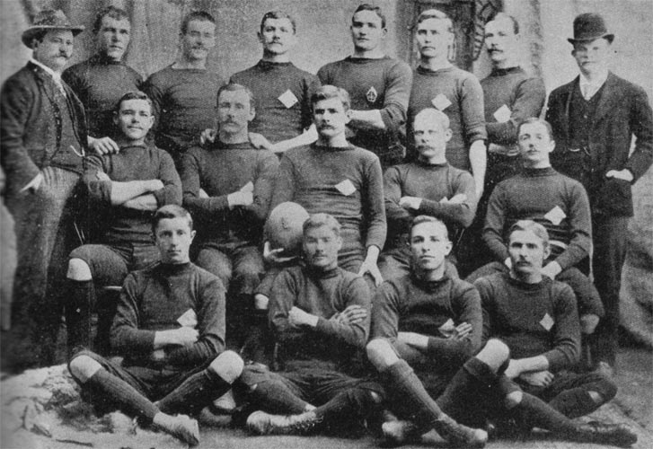 Early Springbok rugby team. Jackie Powell in front row, number 2. http://www.genslin.us/bokke/SARugby.html