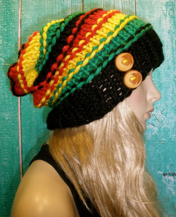 Rasta Reggae Bob Marley Style Slouchy Slouch Hand Knit Oversized Ribbed Striped Woodsy Beanie Hat With Wood Buttons