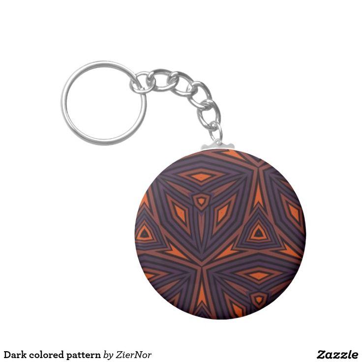 Dark colored pattern basic round button keychain