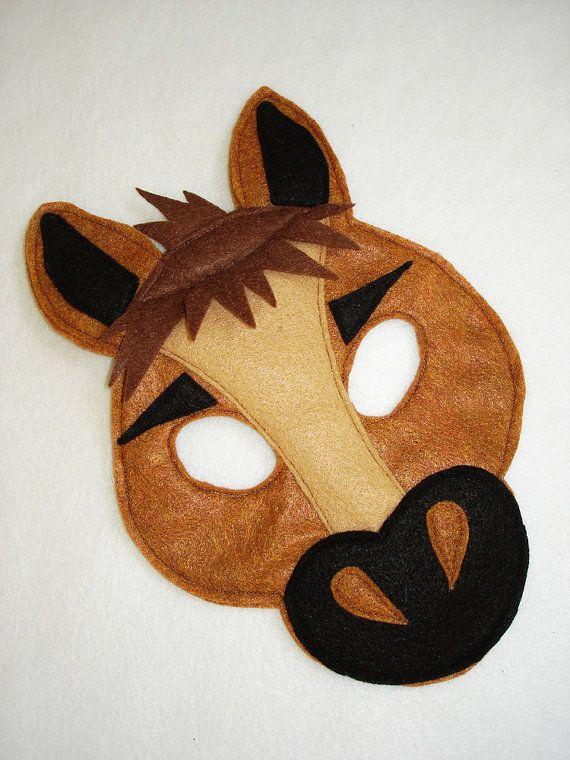Children's HORSE Farm Animal Felt Mask via Etsy