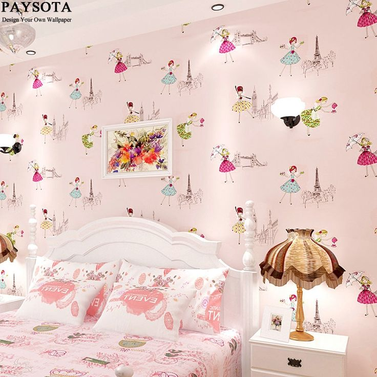24.65$  Buy here - http://aliebn.shopchina.info/go.php?t=32794489454 - PAYSOTA South Korean Style Cute Cartoon Wallpaper Girls Princess  Children Room Bedroom Sweet Pink Non-woven Wall Paper 24.65$ #magazineonline
