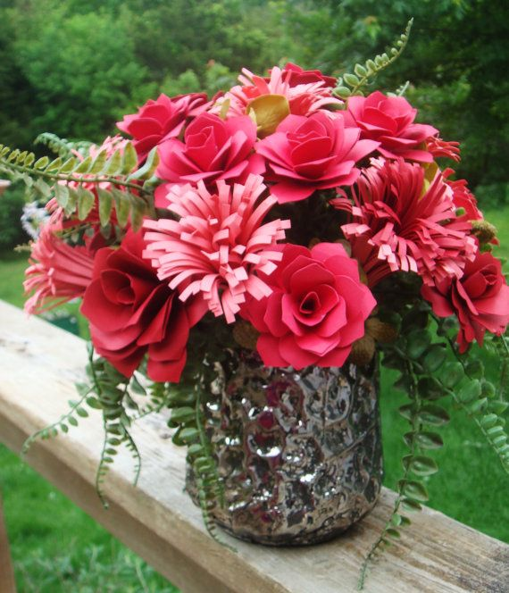 Red And C Paper Flower Arrangement In Beautiful Silver Colored Pot Great Birthday Get Well Anniversary
