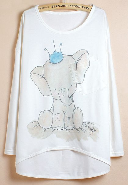White Batwing Sleeve Elephants Print Dipped Hem T-Shirt EUR€12.59