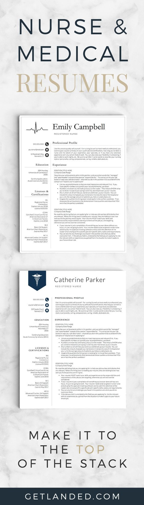 Nurse resume templates | Medical resumes | Resume templates specifically designed for the nursing profession!: