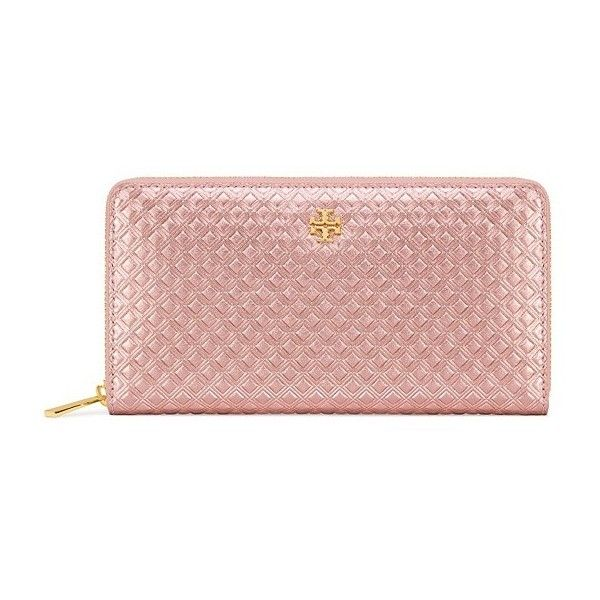 Tory Burch Marion Embossed Metallic Multi-Gusset Zip Continental... ($235) ❤ liked on Polyvore featuring bags, wallets, gold, tory burch, embossed leather wallet, genuine leather wallet, embossed wallet and pink bag