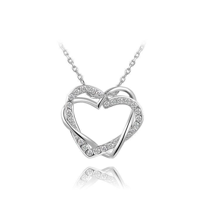 Double platinum winding Heart Pendant Necklace