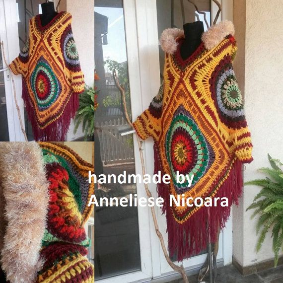 Crochet Poncho with detachable Hood/Bohemian by AnnesMagicCrochet