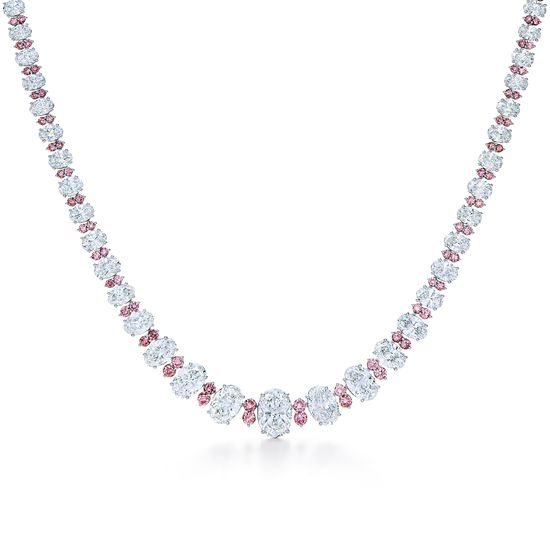 White and pink diamond necklace in platinum. Between Us Diamond Necklace