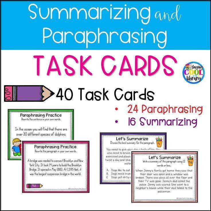 Summarizing And Paraphrasing Task Card Summarize Lesson Plans Quoting Plan