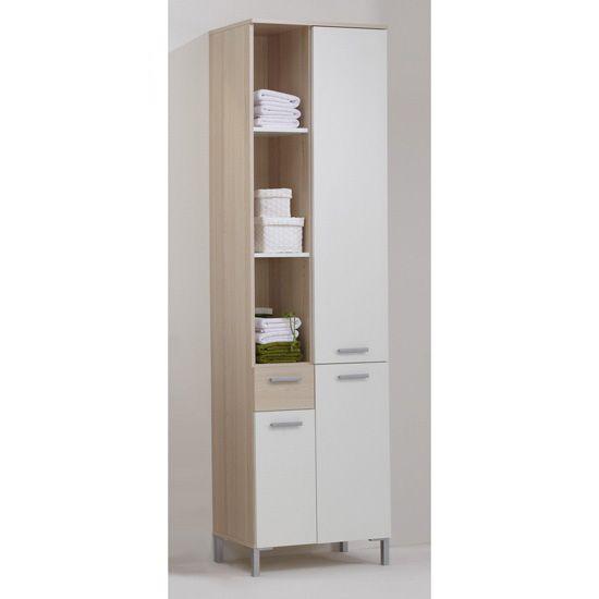 Lerida4 Tall Bathroom Cabinet In Ashtree/White £129.95 #bathroomcabinet  #furnitureinfashion
