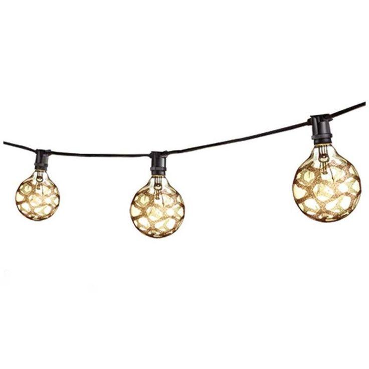 Illumine 15-Light Black Outdoor String Work Light Set