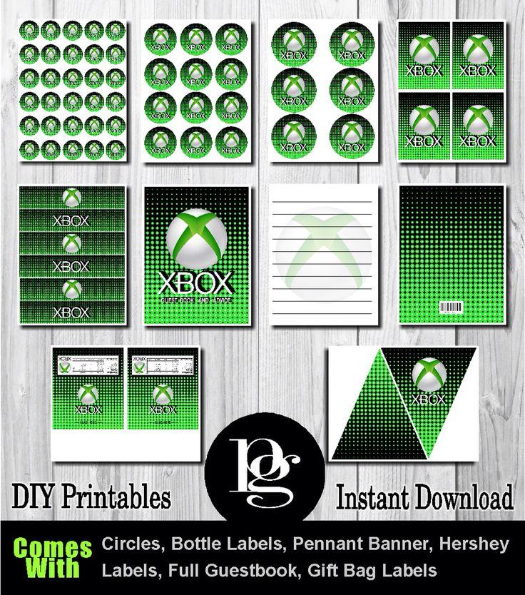 Xbox printable party kit diy xbox theme xbox for Decoration xbox one