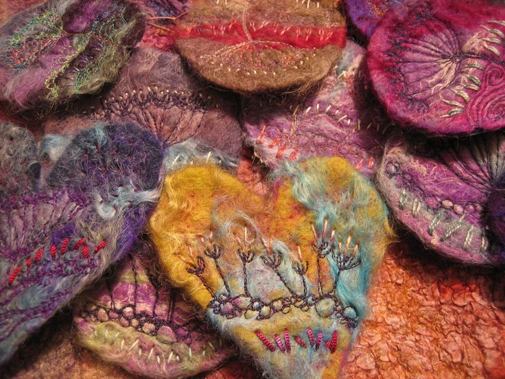 needle felted and embroidered brooches by Stevie Walker