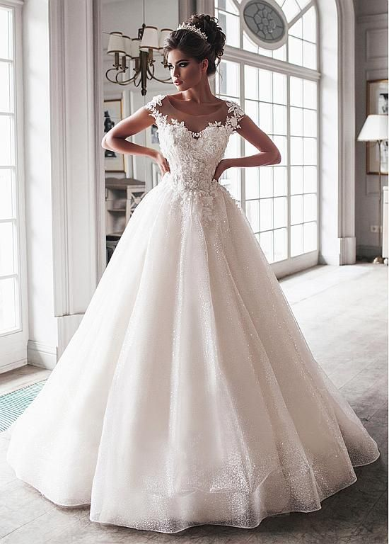 Magbridal Beautiful Tulle Scoop Neckline Floor-length Ball Gown Wedding Dresses …