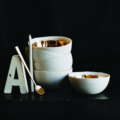 gold and white nesting bowls