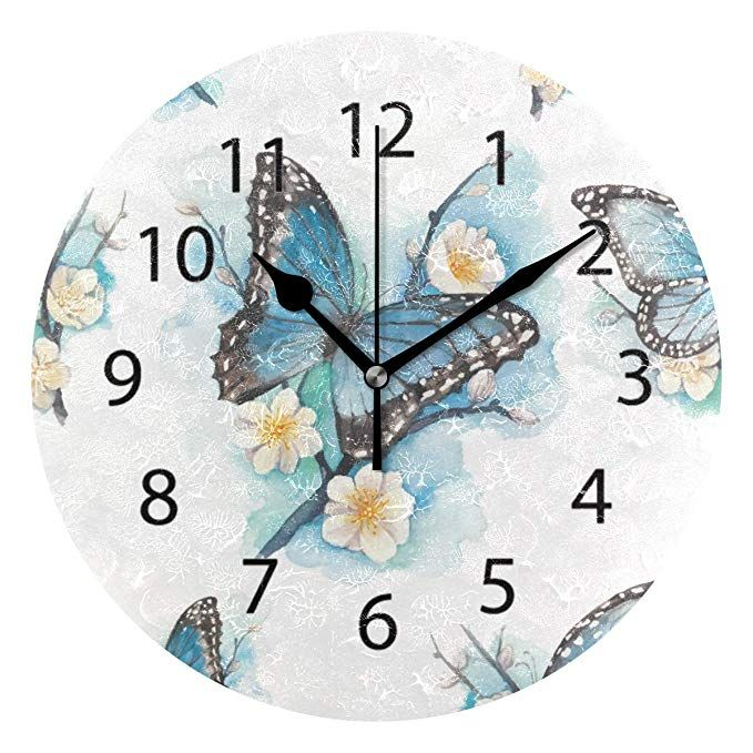 Lonk Wall Clock Round 10 Inch Diameter Silent Flower Butterfly Art Decorative For Home Office Kitchen Bedroom Review Wall Clock Clock Round Wall Clocks