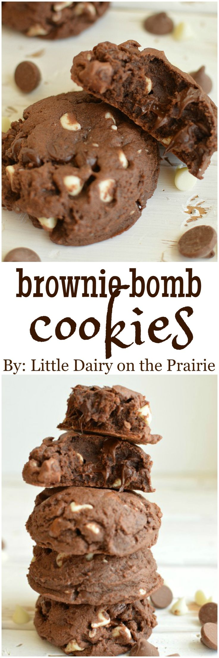 Brownie Bomb Cookies are thick, chewy, and chock full of chocolate goodness! Grab a glass of milk, you're going to want it!