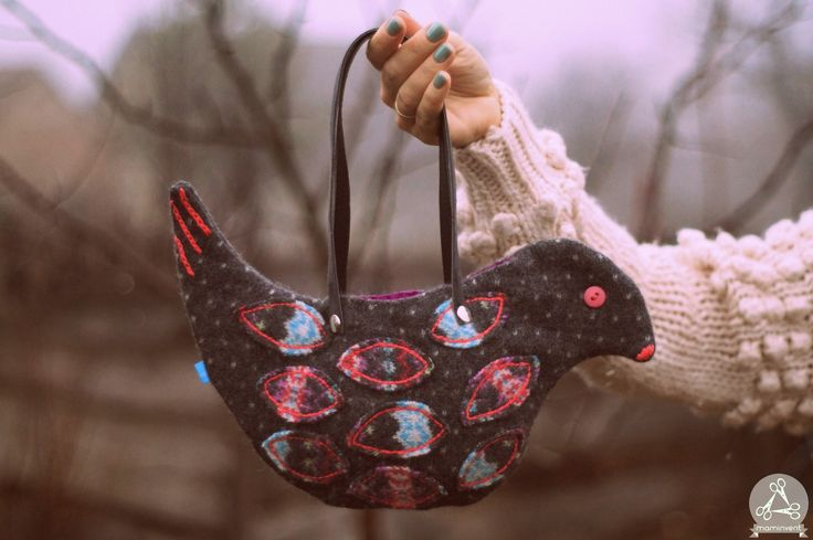 Bird shaped handbag from reclaimed wool sweater.