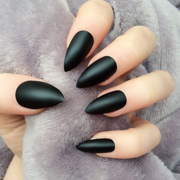 Doobys Stiletto Nails Black Matte 24 Claw Point Stiletto False Nails ($20) ❤ liked on Polyvore featuring beauty products, nail care, nail treatments, nails, makeup, nail polish and beauty