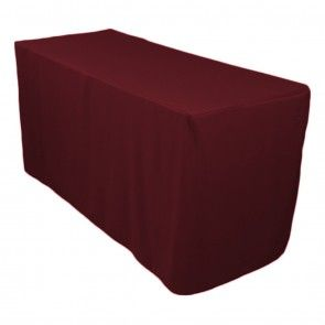 4 foot Fitted Polyester Tablecloth Burgundy