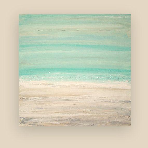 "Painting Acrylic Abstract Art on Canvas Beach Shabby Chic Titled: THE BEACH 30x30x1.5"" by Ora Birenbaum"